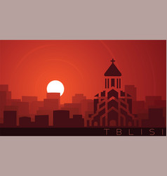 Tbilisi low sun skyline scene vector