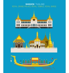 Thailand Royal Place Objects Set vector