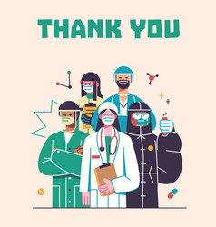 Thank you doctors and nurses working vector