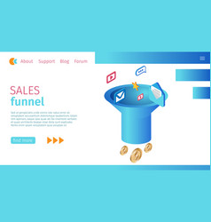 timely sales funnel definition horizontal banner vector image