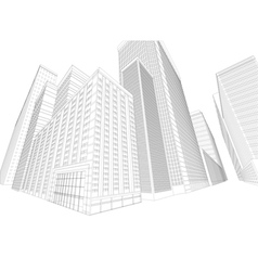 Townscape wireframe building vector