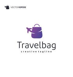 travel plane bag logo design vector image