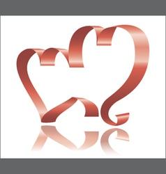 two ribbon hearts vector image