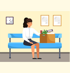 unhappy upset young business woman holds a box vector image