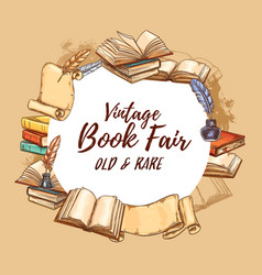Vintage books fair old rare bookstore vector