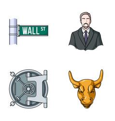 Wall street a businessman a bank vault a gold vector