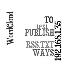 Ways to publish rss text word cloud concept vector