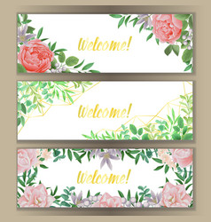 web banner with greenery set vector image