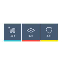 website element icon shopping views and like vector image