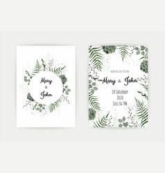 Wedding invitation with green leaf eucalyptus vector