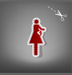 women and baby sign red icon with for vector image