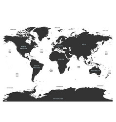 World map of oceans with labels of oceans seas vector