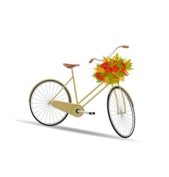 Yellow bicycle with a basket full of leaves vector image
