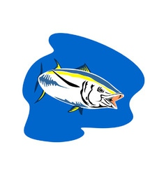 Yellow fin tuna fish retro vector