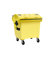 Yellow recycling container for plastic isolated vector