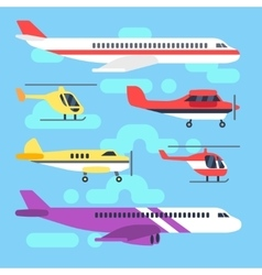 Aircraft airplane plane helicopter flat icons vector image vector image