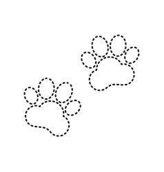 animal tracks sign black dashed icon on vector image vector image