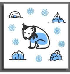 Greeting card template with cute doodle polar bear vector