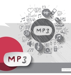 Hand drawn music icons with icons background vector image