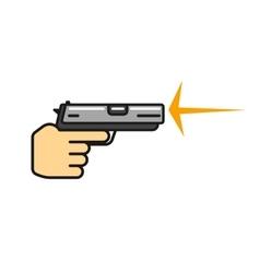 Hand holding gun shooting icon vector image