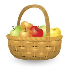 wicker basket full of apples isolated on white vector image