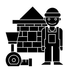 Builder - brick house - meter icon vector