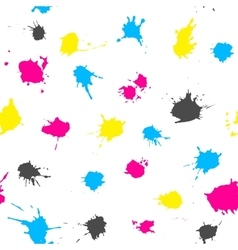 CMYK ink splashes seamless pattern vector image vector image