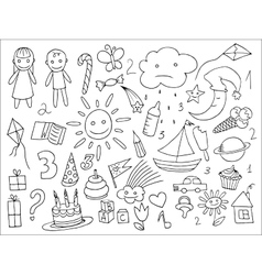 Doodle set of objects from a childs life vector image