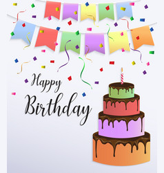 happy birthday card design with colorful big cake vector image vector image