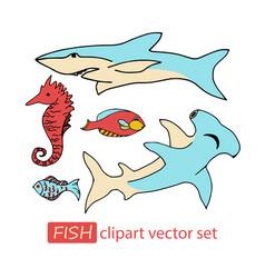 underwater sea life animals clipart set vector image