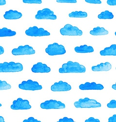 Watercolor pattern with clouds vector
