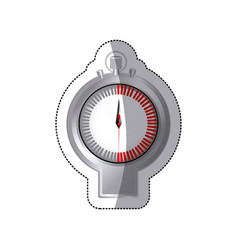 sticker chrome stopwatch timer counter icon vector image