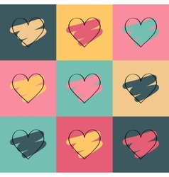 Valentines day colored background with hearts vector image vector image
