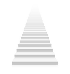 white straight staircase stretches to infinity vector image