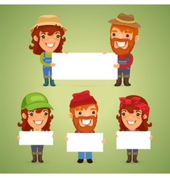 Farmers With Blank Placards vector image vector image