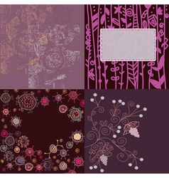 Floral backgrounds set hand drawn vector image vector image