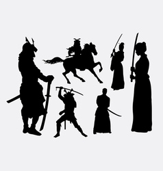 Samurai warrior male and female silhouettes vector image