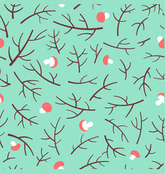 seamless pattern with tree branch and mushrooms vector image vector image