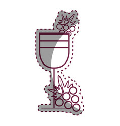 sticker wine glass with grape fruit vector image vector image