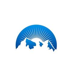 Sun high mountain abstract logo vector