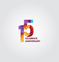 15 year anniversary elegant rainbow template vector