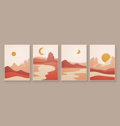 Abstract landscape composition art with sun vector