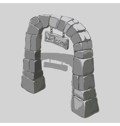 Ancient arch grey blocks and welcome sign vector