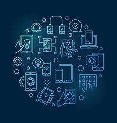 Apps and app development round blue line vector