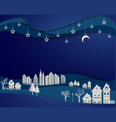architecture building with stars and moon on night vector image