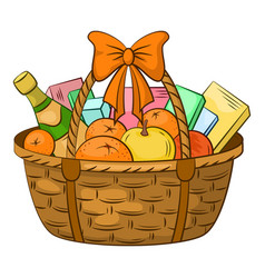 basket with gifts vector image