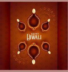 Beautiful diwali diya lamps on decorative vector