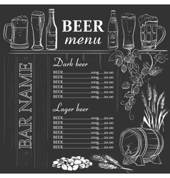 Beer menu hand drawn on chalkboard vector