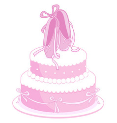 birthday cake with pink ballet shoes vector image