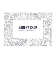 Black inscription bakery shop in a white rectangle vector